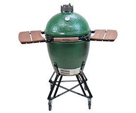 Big Green Egg Large Charcoal Smoker BBQ Grill with side tables