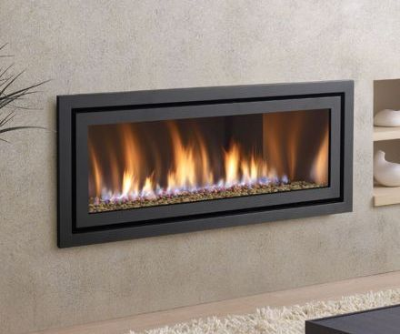Regency HZ54E Contemporary black fireplace with black face plate