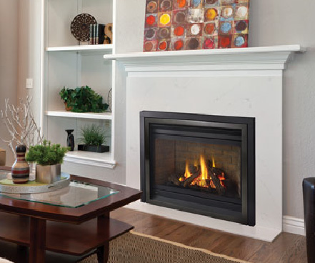 regency P36 gas fireplace with white surround