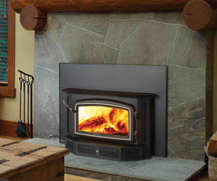 Regency I2400 Wood Fireplace Insert with chrome door frame
