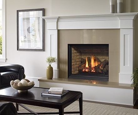 Regency B36XTCE gas fireplace with white mantel and tan surround