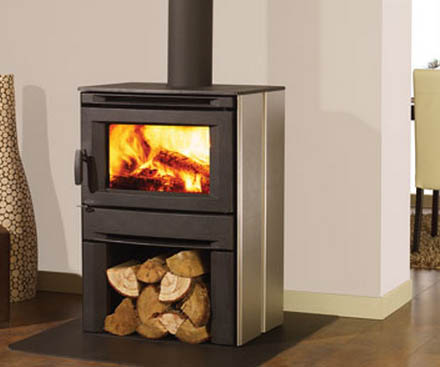 Regency CS1200 Large stainless steel free standing wood stove fireplace with log storage