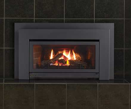 Regency E21 Gas Fireplace Insert with brown tile surround