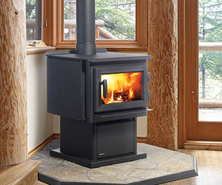 Regency F2400 Free Standing Wood Stove Fireplace with pedestal