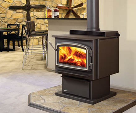 Regency F3100 Free Standing Wood Stove Fireplace with pedestal