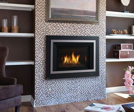 Regency HRI4E Gas Fireplace Insert in chrome with small tile surround