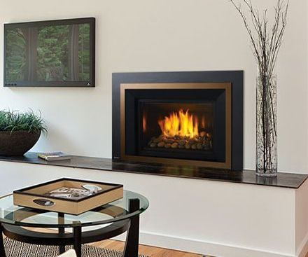 Regency HRI6E Gas Fireplace Insert in bronze with volcanic stone firebed