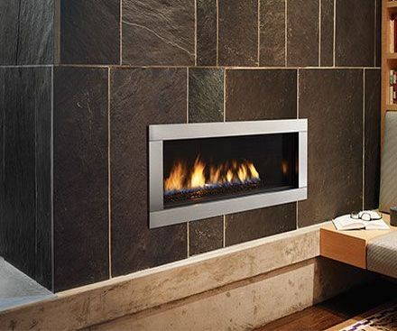 Regency HZ30E Gas Contemporary Fireplace with brown tile surround