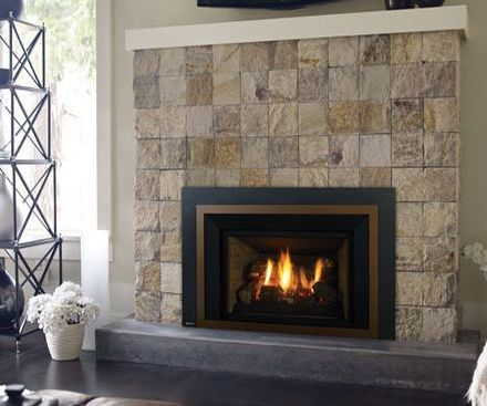 Regency LRI4E Gas Fireplace Insert in bronze with stone tile