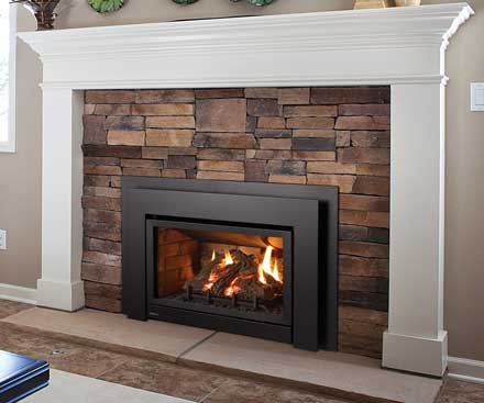 Regency U31 Gas Fireplace Insert in black with white mantel