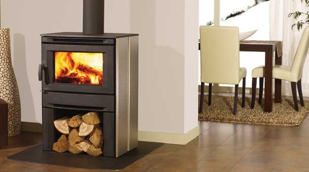 Regency CS1200 Free Standing Stainless Steel Wood Stove Fireplace with storage below for logs