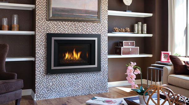 Regency HRI4E gas fireplace insert with multi-colored tile surround