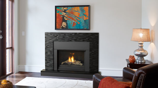 Regency HZ33CE Small Gas Fireplace with black tile surround