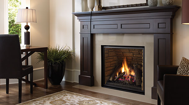 Regency L965E Traditional Gas Fireplace with dark wood mantel