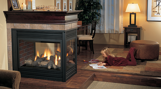 Regency P131 Three Sided Gas Fireplace with black louvers and red brick panels