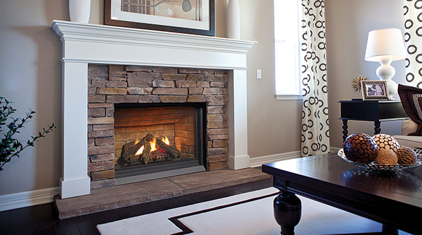 Regency P33CE Small Gas Fireplace with brown brick panels and white mantel