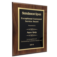 sundance spas customer service award presented to Aqua Quip Seattle